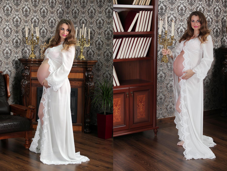 Фотосессия беременных в белом платье в фотостудии