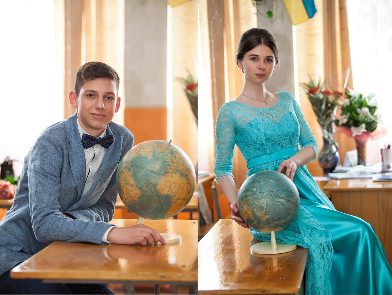 школьный выпускной, выпуск, школа, глобус, класс, кабинет, парта, вечернее платье, костюмф